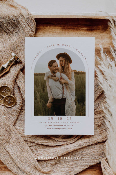 Boho Arch Save the Date Photo Card Rust Terracotta Color