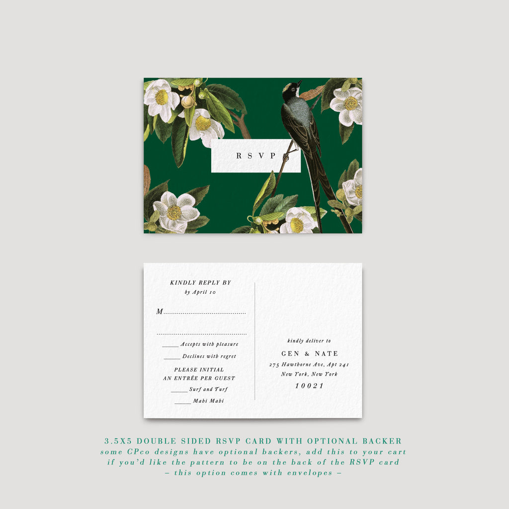 Love birds wedding invitation RSVP card