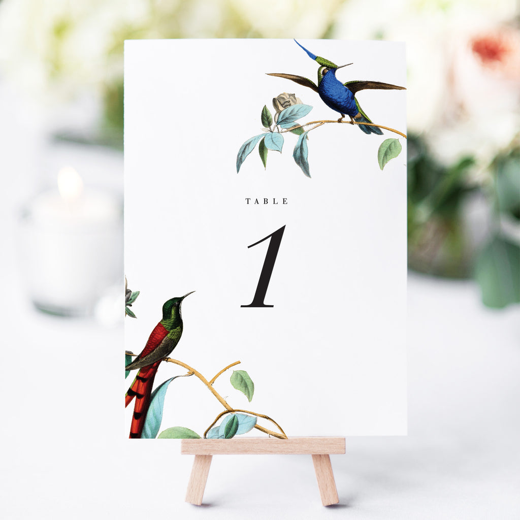 Vintage Birds Table Numbers for Wedding Reception