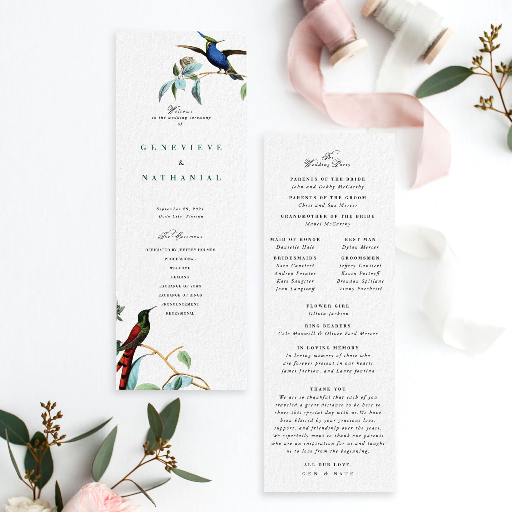Small Ceremony Big Reception Invitations: Love Bird Wedding Program
