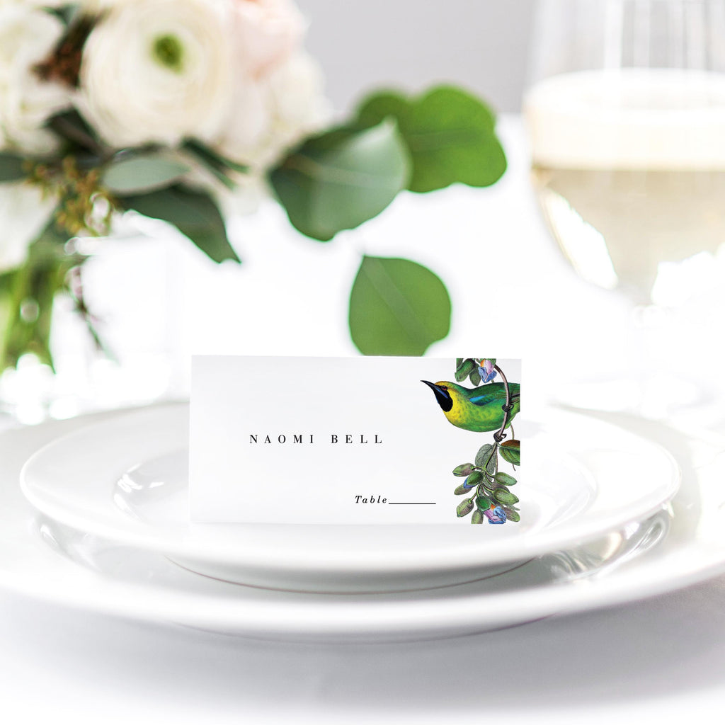 Love birds wedding reception place cards