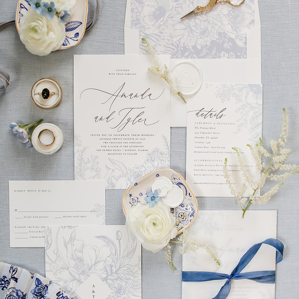Blue Wedding Invitation by Citrus Press Co.