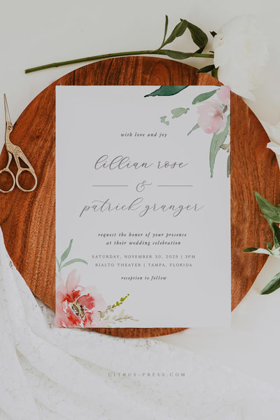 Romantic Blush Flower Wedding Invitation Printable Template PDF DIY Self Edit Corjl Templett