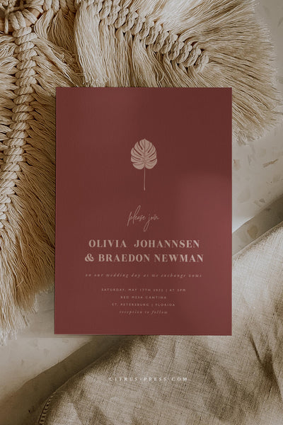 Boho Terracotta Wedding Invitation Modern Simple Layout and Design Stationery