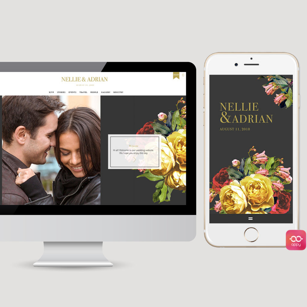 Dark Moody Floral Wedding Appycouple App