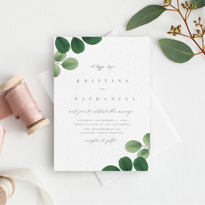 Eucalyptus Botanical Greenery Wedding Invitation PDF DIY Self Editable Template Corjl