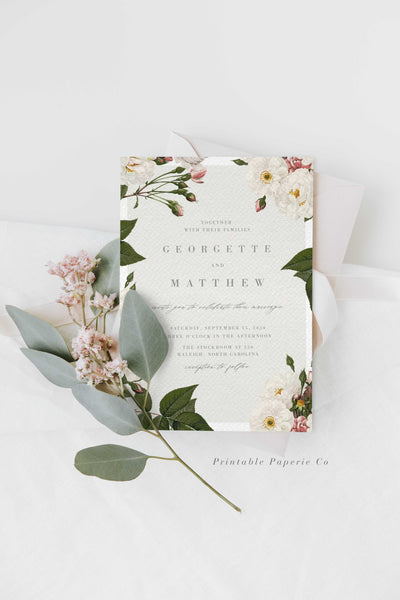 Blush Roses Wedding Invitation DIY PDF Editable Corjl