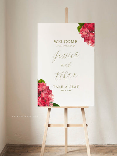 PDF DIY Bougainvillea Tropical Wedding Welcome Ceremony Sign