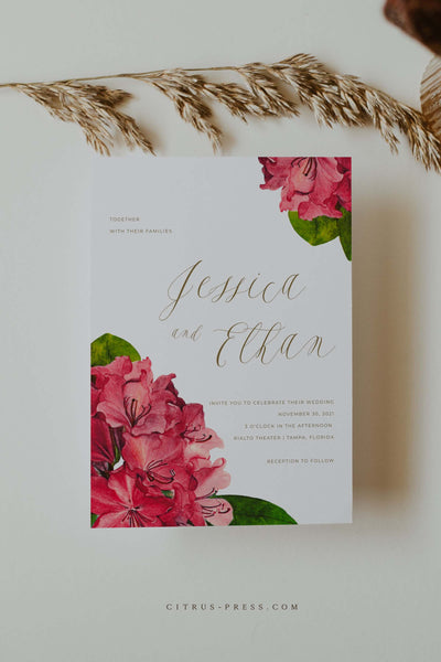 Bougainvillea Tropical Wedding Invitation Printable Template PDF DIY Self Edit Corjl Templett