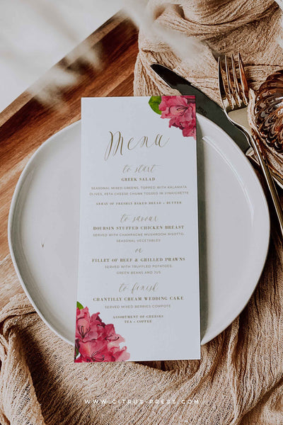 Tropical Wedding Menu PDF Editable Corjl Templett Template DIY Bride