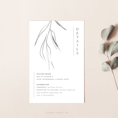 Minimalist Leaf Wedding Invitation Enclosure Card