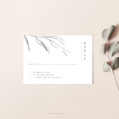 Simple Minimalist Wedding Invitation RSVP Card