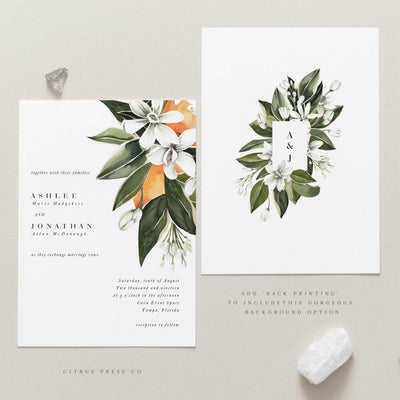 Modern Citrus Oranges Wedding Invitation Minimalist Contemporary