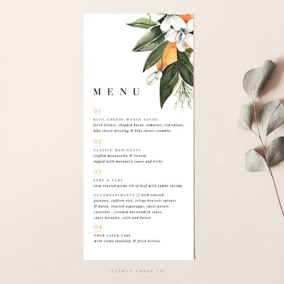Citrus Oranges Wedding Reception Menu