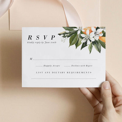 Citrus Orange Wedding Invitation Suite RSVP card Florida Destination Wedding
