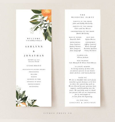 Citrus Orange Grove Florida Wedding Reception Program