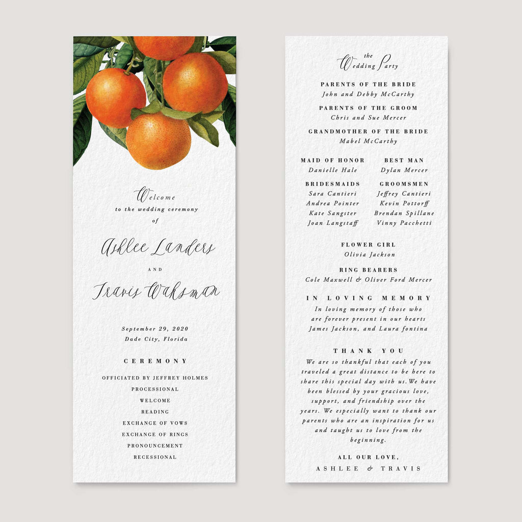 Citrus Orange Grove Florida Wedding Program