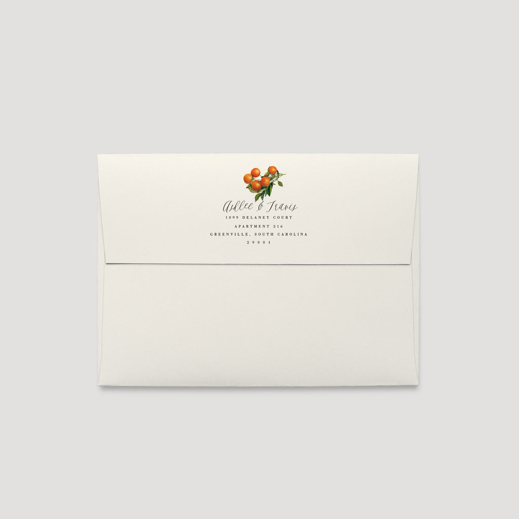 Citrus Orange Wedding Envelope