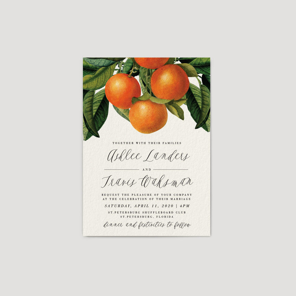 Orange Citrus Florida Wedding Invitation