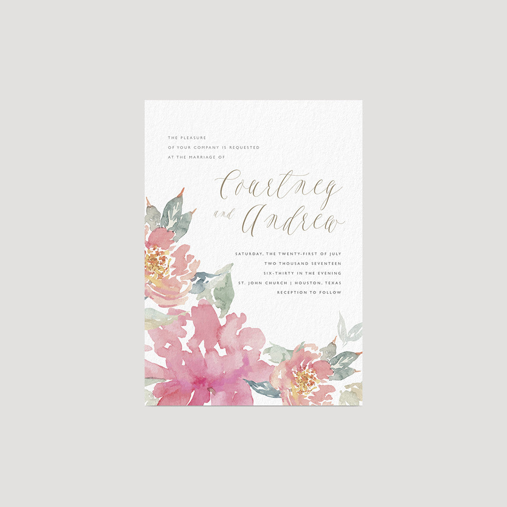 Fresh watercolor floral Botanical Hand Drawn Wedding Invitations in Peach