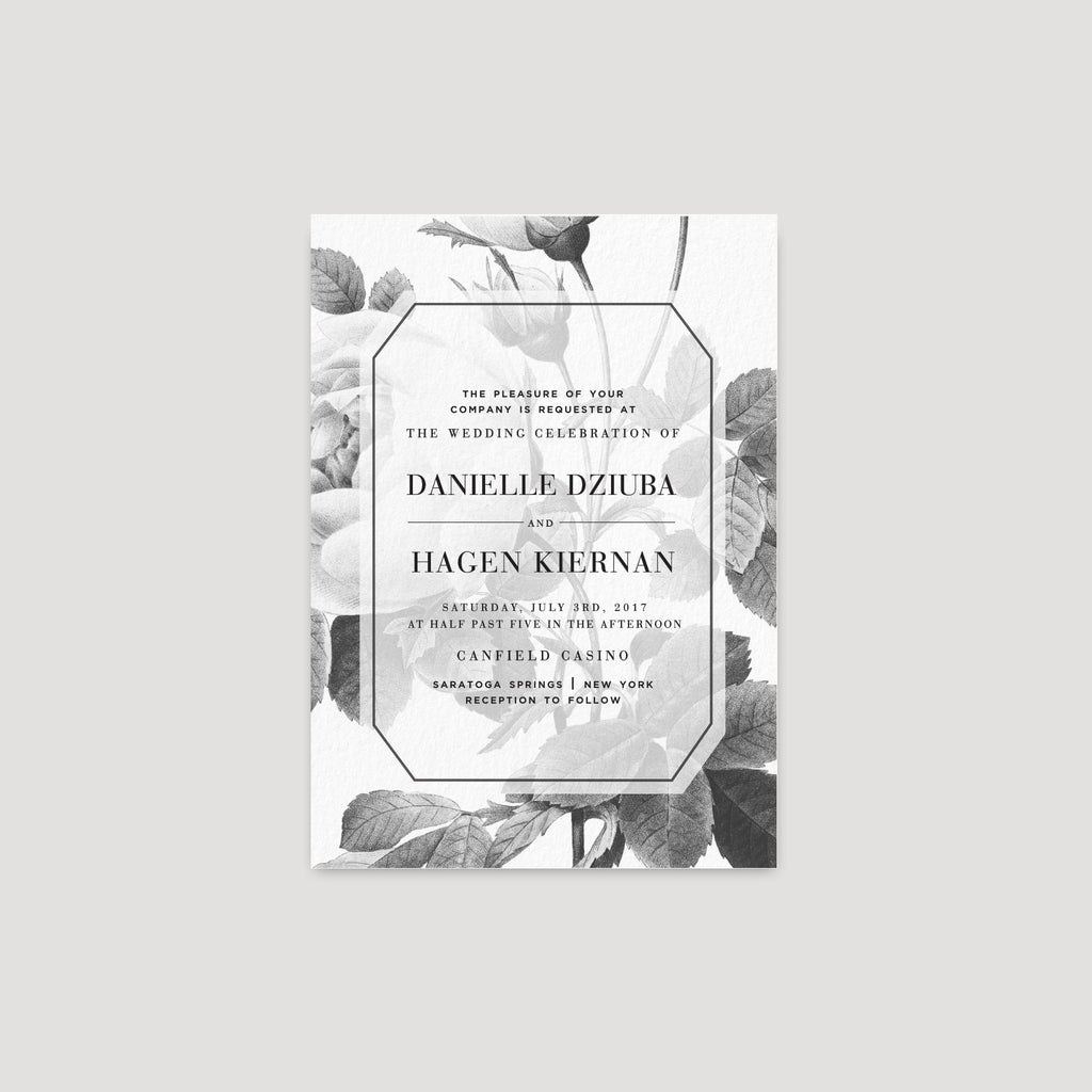 Painterly floral black white wedding invitation