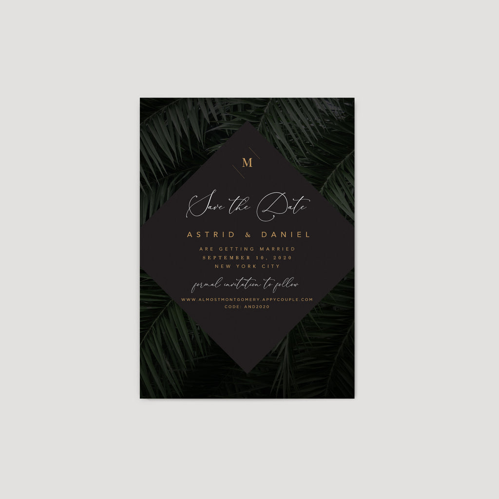 Dark Moody Tropical Wedding Invitation