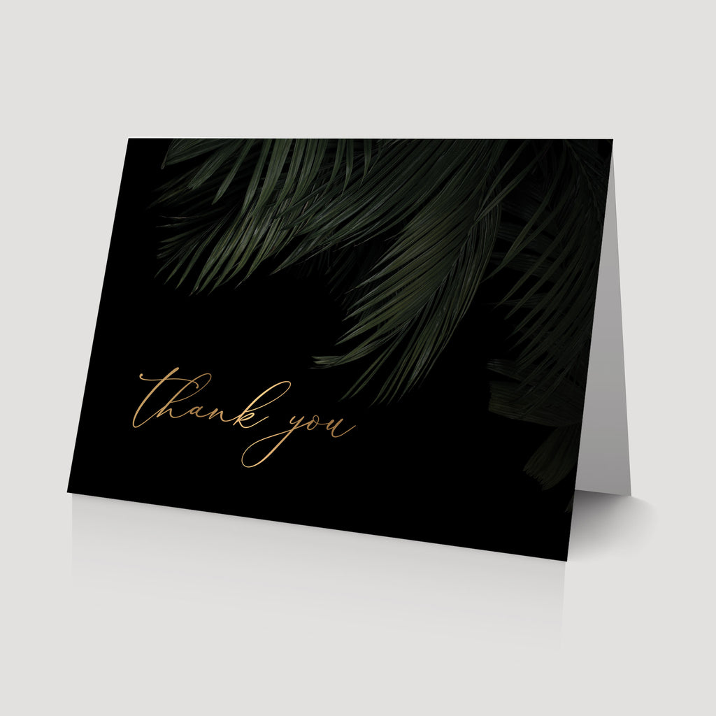 Dark and moody tropical thank you card