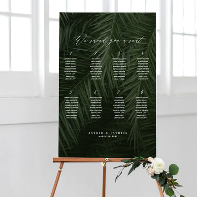 Dark Moody Tropical Seating Chart DIY PDF Self Editable Template Printable