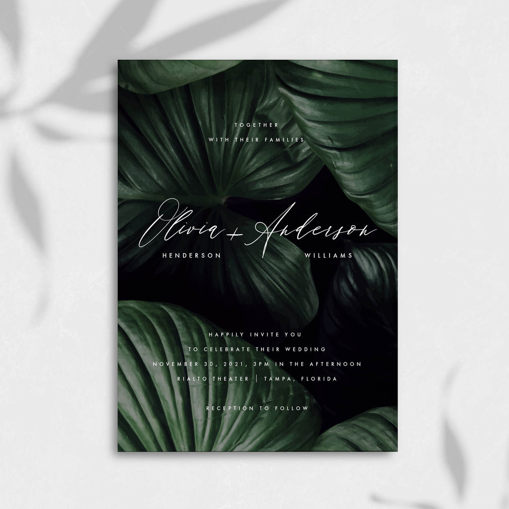 Dark Moody Tropical Wedding Invitation Self Editable Template
