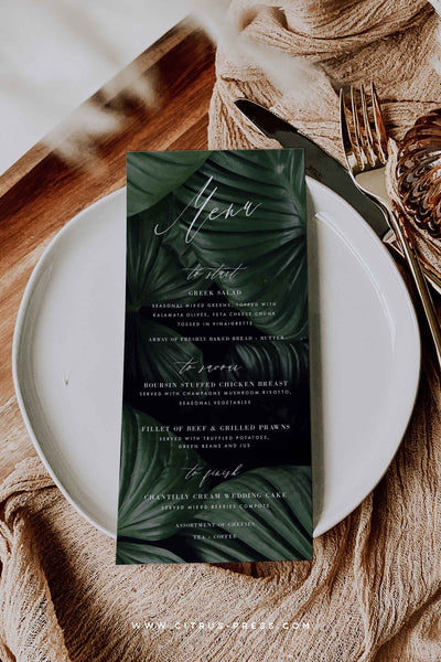 Dark and Moody Palm Leaf Menu Wedding Reception Corjl Templett Editable Template DIY
