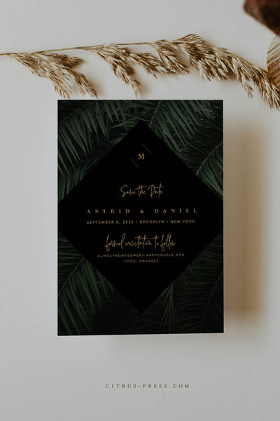 Moody Tropical Save the Date Wedding Announcement