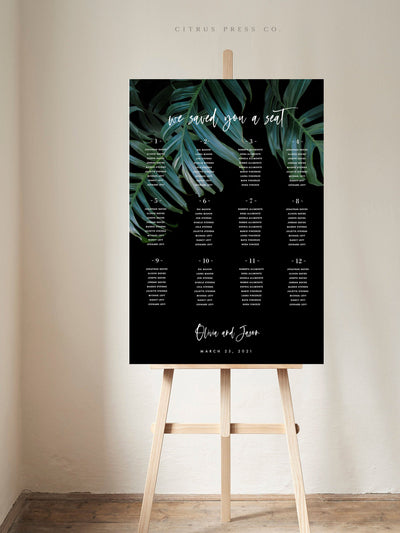 Dark Moody Tropical Seating Chart DIY PDF Template Self Editable