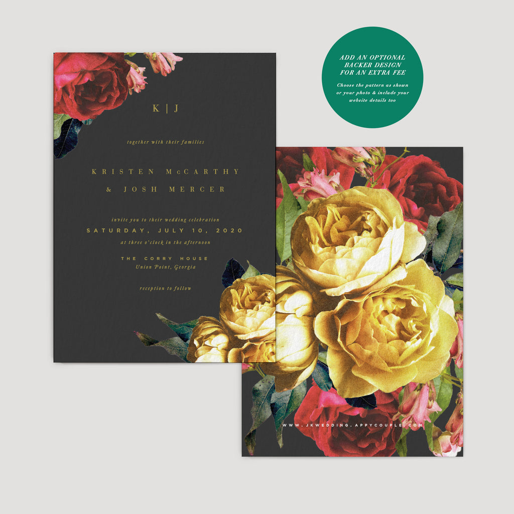 Dark Moody Tropical Invitation