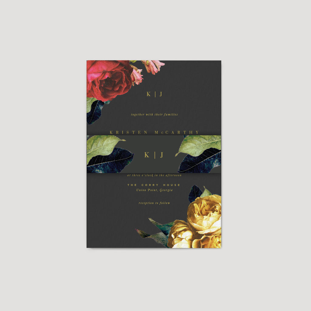 Dark Moody Floral Wedding Invitation card