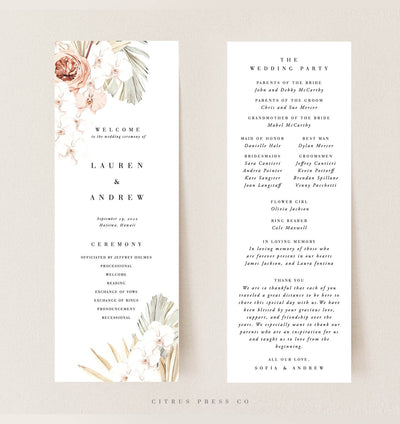 Desert Tropical Terracotta Wedding Ceremony Program
