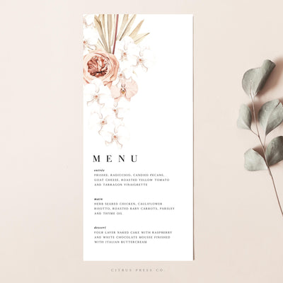 Pampas grass terracotta wedding menu minimalist design