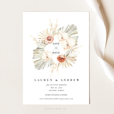 Pampas Grass Tropical Save the Date Wedding Invitation Card