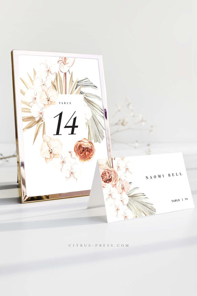 Desert Boho Table Numbers Place card wedding Boho Orchid