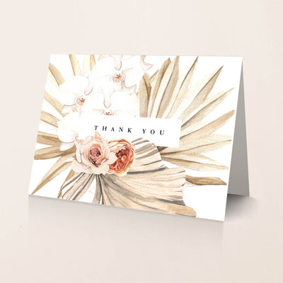 Sun bleached palm leafs and orchid thank you card for wedding