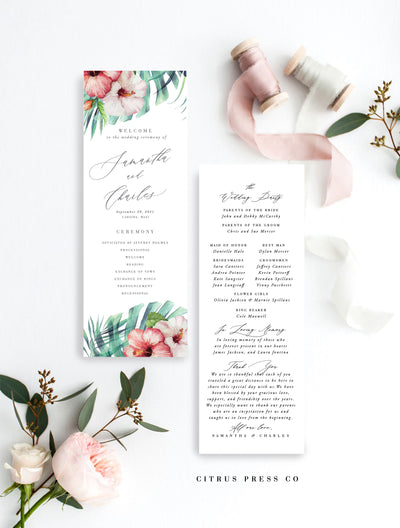 Hawaii Destination Tropical Wedding Invitation Reception Program Hibiscus