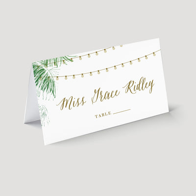 palm tree string light place card