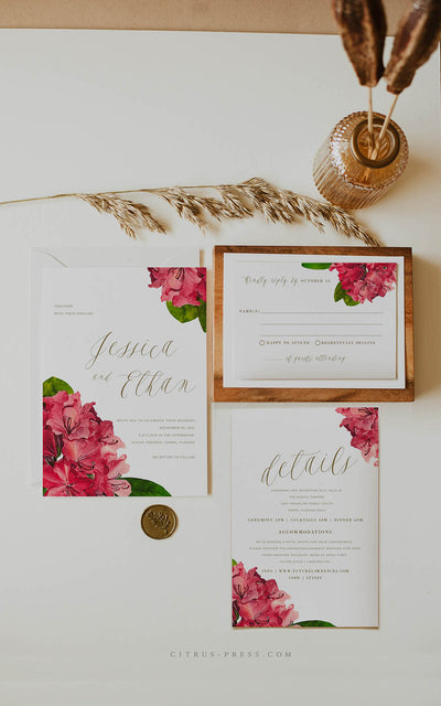 Bougainvillea Tropical Wedding Invitation PDF DIY Self Editable Template