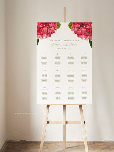 Bougainvillea Tropical Destination Wedding Seating Chart DIY PDF Template