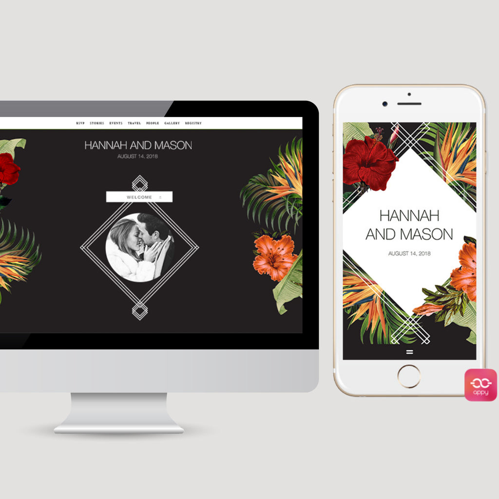 Dark Moody Tropical Wedding Invitation Wedding App