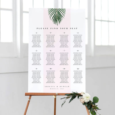 Tropical Seating Chart Table Plan PDF DIY Editable