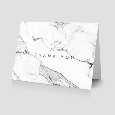 Marble Thank You card with monogram