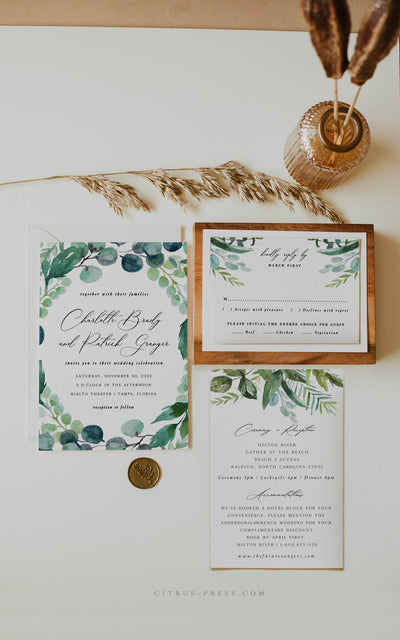 Eucalyptus Wedding Invitation PDF DIY Printable Template Corjl Templett