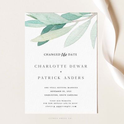 Eucalyptus Greenery Changed the Date Postponed Wedding Save the Date