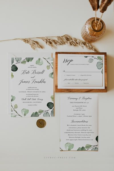 Eucalyptus Wedding Invitation Printable Template Self Editable DIY Corjl Templett