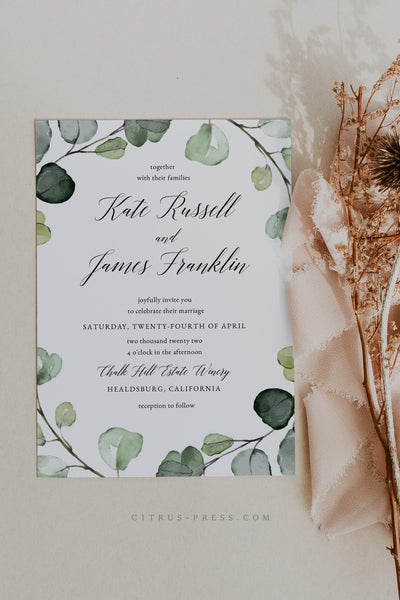 Eucalyptus Greenery Wedding Invitation Printable Template DIY PDF Instant Download Corjl Templett